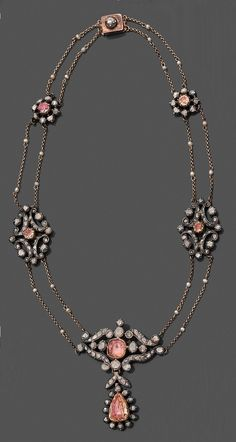 An antique silver, gold, topaz, pearl and diamond necklace, 18th century. #antique #necklace