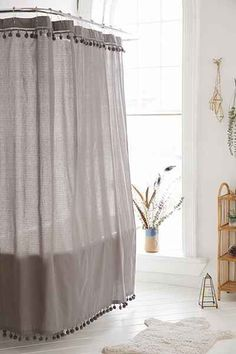 Magical Thinking Pompom Shower Curtain - Urban Outfitters Possible DIY? {diy tassel trim instead of pompoms for livingroom curtains? Hanging Curtains, Diy Curtains, Bathroom Curtains, Nursery Curtains, Muslin Curtains, Closet Curtains, Roman Curtains, French Curtains, Luxury Curtains