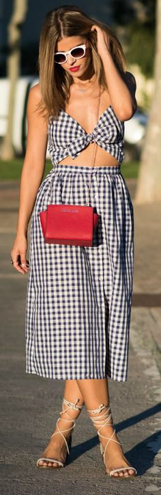 Summer + cut out dresses + Alba Zapater + beautiful checked number + splash of colour + red bag.   Dress: Zara, Bag: Michael Kors