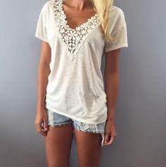 Lace Short Sleeve V-Neck Shirt Blouse Tops