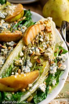 Grilled Romaine Hearts with Pears and Bleu Cheese - An incredible salad that will make your tastebuds dance! #recipe