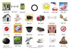 Woorden klank /o/. Afbeelding Letter School, Learn Dutch, Dutch Language, Teacher Tools, Kids Writing, Teaching Materials, Spelling, Preschool, Learning