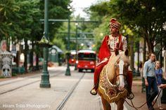 Handsome raja riding a baraat horse. http://www.maharaniweddings.com/gallery/photo/91202