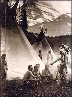 Blackfoot council. Glacier National Park. 1913