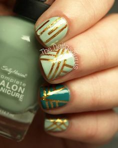 Green and Gold Geometric Nail Designs with Nail Tape