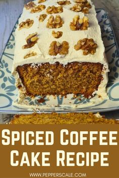 Now this is a cake you'll be tempted to have a second slice of right after the first! Spiced coffee cake is so tasty, even if you aren't a coffee fan. The caramel frosting tames the coffee flavor just right, like a caramel latte in baked form. It's rich and sweet — so hard to resist. #spicedcoffeecake #coffeecake #caramelfrosting #caramel #coffee Spicy Vegetarian Recipes, Easy Delicious Recipes, Delicious Desserts, Yummy Food, Coffee Recipes, Bread Recipes, Cake Recipes, Dessert Recipes, Barista Recipe