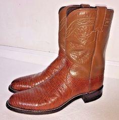 Justin Mens Cognac Brown Lizard Roper Brown Western Cowboy Leather Boots 9.5B #JustinBoots #CowboyWestern
