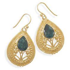 14K Gold Over Sterling Silver Emearld Earrings #Unbranded #DropDangle