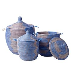 Senegalese Storage Baskets - Blue: Handmade by artisans in Africa, these would be so cute in a nursery! #Baskets