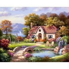 Global Gallery 'Stone Bridge Cottage' by Sung Kim Painting Print on Wrapped Canvas Size: House Painting, Painting Prints, Art Print, Landscape Art, Landscape Paintings, Cottage Canvas Art, Belle Image Nature, Beautiful Places, Beautiful Pictures