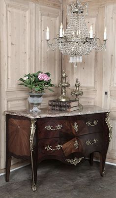 Antique French Bombe Marble Top Commode