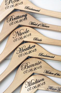 Personalized hangers - love these for bridesmaid gifts