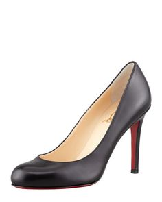 Simple+Round-Toe+Kidskin+Red+Sole+Pump,+Black+by+Christian+Louboutin+at+Bergdorf+Goodman.