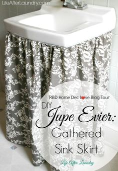 Sewing Curtain A little fabric made a huge upgrade to my bathroom with this tutorial for a DIY Gathered Sink Skirt. - A little fabric made a huge upgrade to my bathroom with this tutorial for a DIY Gathered Sink Skirt.