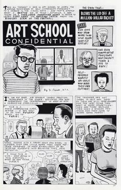 Daniel Clowes: Art School Confidential - Page 1 of 4. This classic comic story can be found in the new Complete Eightball Issue 1-18 box set.