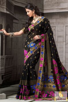 Go bold and beautiful in this attractive black color art silk party wear saree online shopping with discount offer price. Purchase it with discount offer price. #partywearsaree, #partysaree, #designerpartysaree, #embroiderysaree, #designersaree, #netpartywearsaree, #discountoffer,   #pavitraafashion, #utsavfashion, #onlinesareeshopping, #printedpartysaree, #silkpartysaree, #blackpartysaree http://www.pavitraa.in/store/party-wear-saree/ callus:+91-7698234040