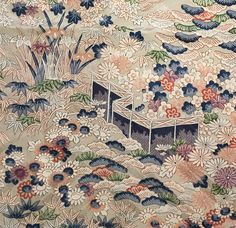 6552: 1930s-50s Japanese Silk Kimono Fabric, 50in.(Arai Hari) #bulkkimono #instaquilt #japanesefabric #instasew Kimono Fabric, Silk Kimono, Silk Fabric, John Marshall, Traditional Japanese Kimono, Bamboo Leaves, Japanese Textiles, Vintage Japanese, Gold Accents
