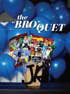 The bro-quet is like a bouquets manly, DIY counterpart. Just like a gorgeous floral arrangement, this crafty gift has major Wow!-factor when you leave it for him to find, or drop it off at his office. But instead of flowers and greens, hell get to enjoy eating and drinking his favorite candy, liquor and snacks. What more could a guy want?   The best part is that its easy to make.