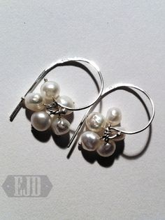 Items similar to Pearl Cluster Earrings. Five Flexible Round Freshwater Pearls Hang Bauble Ball Beads 925 Sterling Silver White Bride Dangle Genuine Original on Etsy Cluster Earrings, Pearl Earrings, Jewelry Design, Unique Jewelry, Dangles, Pearls, Sterling Silver, Handmade Gifts, Etsy