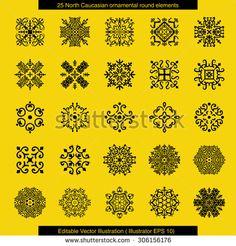 North Caucasian ornamental round elements. Editable Vector Illustration