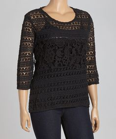 Take a look at the Black Crocheted Three-Quarter Sleeve Top - Plus on #zulily today!