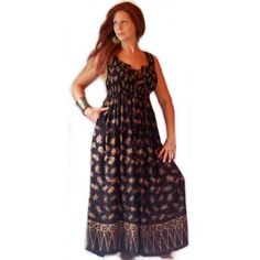 LOTUSTRADERS Art Batik Sleeveless Long Laced Bodice Maxi Dress  F815