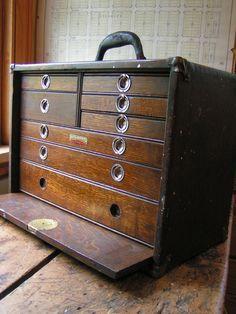 Antique Wood Machinists Tool Chest Box Circa 1920 6