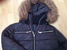 Zwarte winterjas met bontkraag mt M - Langedijk - Koopplein.nl