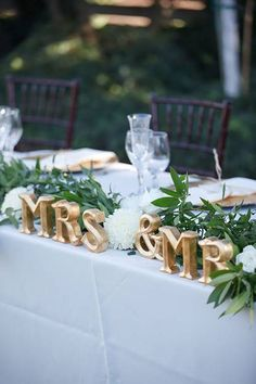 Classic Vineyard Wedding at Groom's Family Winery, Mr. and Mrs. Head Table Sign