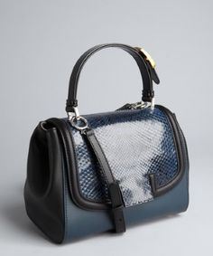 Fendi : blue and black leather 'Silvana' snakeskin flap crossbody bag