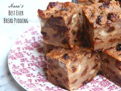 Nana's Best Ever Bread Pudding is part of Bread pudding recipe Cuts into 16 generous squares Me and my nana went together like cookies and cream I said goodbye to her in 2004 but I still think of - Pudding Desserts, Pudding Recipes, Hot Desserts, Baking Recipes, Cake Recipes, Bread And Butter Pudding, Mary Berry Bread Pudding, English Bread Pudding Recipe, Old Fashioned Bread Pudding