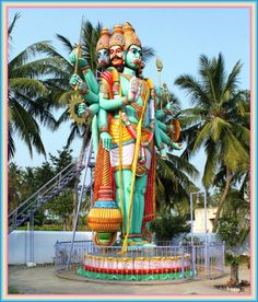 Nice and colorful tall statue of Panchmukhi Hanuman is located at SATHYAMANGALAM (also known as Sathy) town belongs to ERODE district in the Indian state of TAMIL NADU. Sathy lies on the banks of River Bhavani, a tributary of Kaveri in the foothills of the Western Ghats. It is situated at a distance of 65 kms from the district headquarters Erode connected through State Highway 15 via Gobichettipalayam and 68 kms from the city Coimbatore via NH-209.