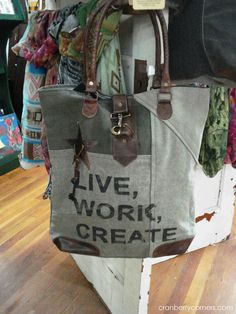 Live, work create.  Love this one!  Our Mona B. bags = perfection for summer travels + adventures :).