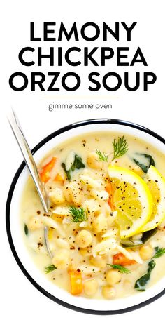 LOVE this Lemony Orzo Chickpea Soup recipe! It's a vegetarian spin on Greek avgolemono soup, brightened up with lots of lemon juice and fresh herbs, and made extra creamy by folding a few eggs into the broth (instead of cream). Veggie Recipes, Diet Recipes, Cooking Recipes, Healthy Recipes, Summer Soup Recipes, Vegetarian Crockpot Recipes, Vegitarian Soup Recipes, Soup Recipes With Chicken, Slow Cooker Soup Vegetarian