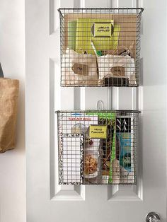 Hang storage bins on doors so the space isn't wasted. | 29 Things You Can Do Right Now To Get Your Kitchen Organized
