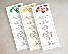 Wedding reception menu cards, menu cards for wedding reception, menu cards wedding, birch tree branch, gold, emerald, purple, orange, Serena on Etsy, $25.00