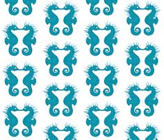 Seahorse Kisses Aqua 2 fabric by hfpdesigns on Spoonflower - custom fabric