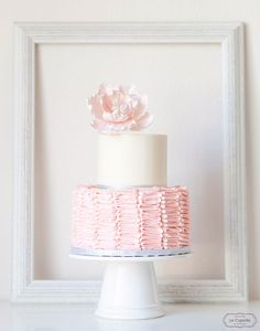 Sage 1st Birthday Cake - Blush Ruffle