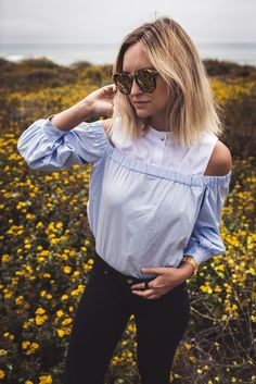 Top: late afternoon blogger blue off the shoulder black jeans black skinny jeans tortoise shell