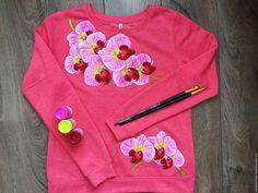 """Купить Женский свитшот """"Орхидеи"""" - коралловый, свитшот, свитшот с рисунком, свитшот женский, свитшот на заказ"""