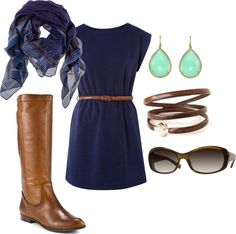 """Casual Dress and Boots"" by amy-boley on Polyvore"