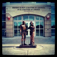 Memorial Stadium, Lincoln Nebraska.  Statue of Brooke Berringer & Tom Osborne