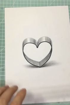 How to draw a Heart ❤ Heart Pencil Drawing, 3d Pencil Drawings, 3d Art Drawing, Art Drawings Sketches Simple, Art Drawings Beautiful, Art Drawings For Kids, Easy Drawings, 3d Pencil Art, Mom Drawing