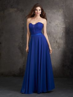 Allure 1425 Bridesmaid Dress.  The strapless bodice of this floor-length gown is overlaid with lace. It showcases a sweetheart neckline that plunges into a deep illusion V. A satin band defines the natural waistline above the long filmy chiffon skirt that flows effortlessly in soft layers.