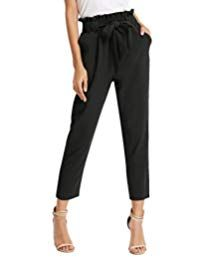 GRACE KARIN Women's Pants Trouser Slim Casual Cropped Paper Bag Waist Pants with Pockets Cropped Trousers, Trouser Pants, Jogging, Simple Outfits, Cute Outfits, Grace Karin, Paper Bag Waist Pants, Women Bow Tie, Cute Pants