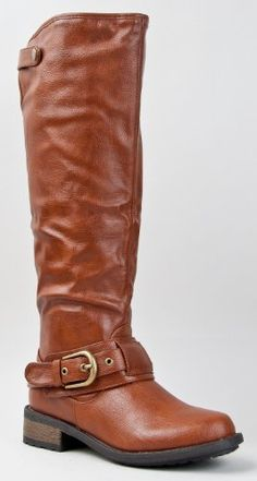7a043dd5710 Amazon.com  Qupid RELAX-39 Basic Casual Knee High Stacked Heel Buckle  Riding Boot