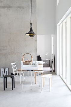 Right Now grey walls white flooring lighting floor-to-ceiling windows chairs and dining table