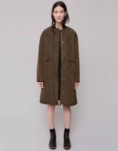 Pull&Bear - mujer - chaquetas y cazadoras - cazadora bomber extralarga - kaki oscuro - 09712308-I2015