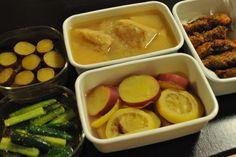 常備菜 : 厚揚げのみぞれ煮、さつまいものレモン煮、さつまいものメープルバター煮、きゅうり胡麻醤油和え、豚肉大葉カマンベールフライ
