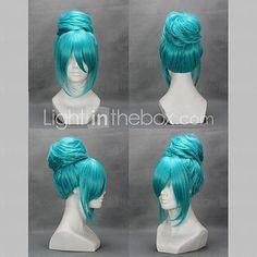 Cosplay Wigs Vocaloid Hatsune Miku Blue Medium Anime/ Video Games Cosplay Wigs 45 CM Heat Resistant Fiber Female 2017 - $29.99